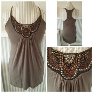3for$30 Lush beaded olive high low camisole  S